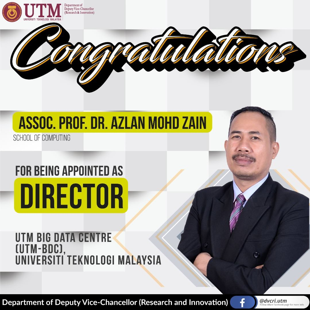 Congratulations Director UTM Big Data Centre
